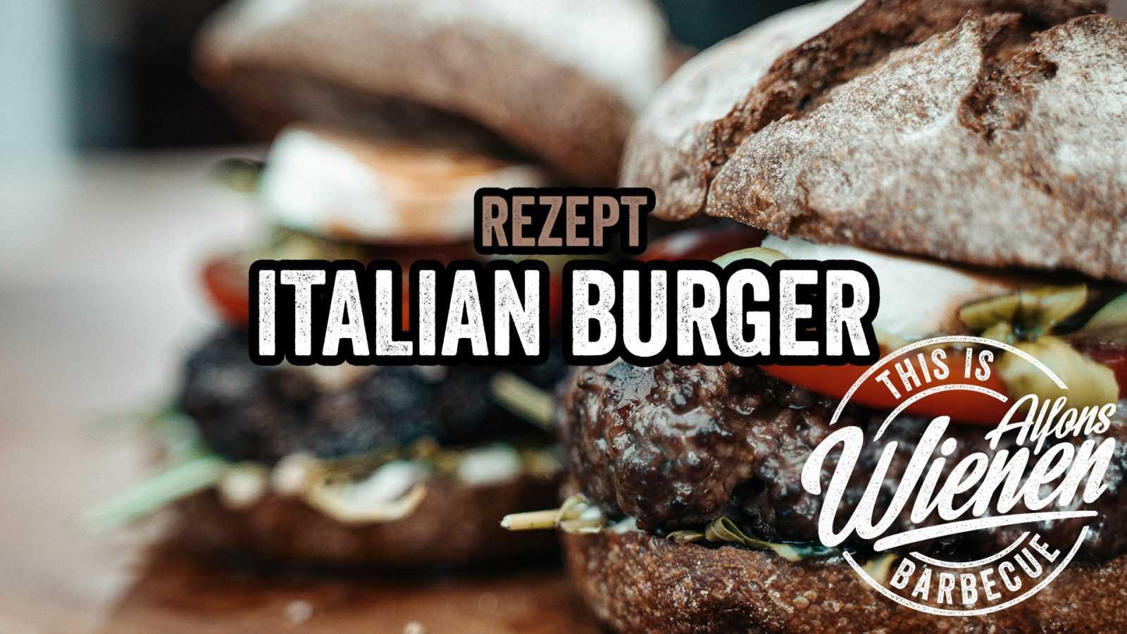 Italian Burger mit Basilikum pesto Mozarella Pinienkerne Parmesan selbstgewolftes Patty